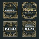 Vintage whiskey and alcoholic beverages vector labels in art deco retro style. Alcohol whiskey rum and tequila poster illustration Royalty Free Stock Photography