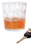 Vintage whiskey and car keys Royalty Free Stock Images