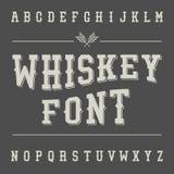 Vintage Whiskey Font. Alcohol Drink Label Design.  Stock Photo