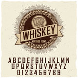 Vintage Whiskey Label Font Poster. With sample label design vector illustration Royalty Free Stock Photo