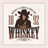 Vintage Whiskey Label with Girl - T-shirt Graphic stock illustration