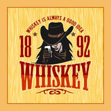 Vintage Whiskey Label with Girl - T-shirt Graphic vector illustration