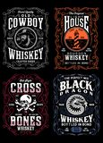 Vintage Whiskey Label T-shirt Graphic Collection. Fully editable vector illustration of vintage whiskey label collection, image suitable for whiskey label design stock illustration