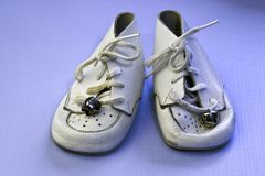 Vintage white baby shoes Royalty Free Stock Photos