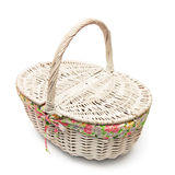 Vintage white basket isolated Royalty Free Stock Images