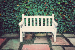 Vintage white bench Stock Image