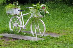 Vintage white bicycle with baskets of flowers among the garden. Royalty Free Stock Photo