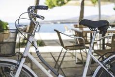 Vintage white bicycle. Royalty Free Stock Photo