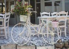Vintage white bicycle. Royalty Free Stock Photos