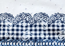 Vintage white and blue cotton fabric Royalty Free Stock Photos