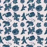 Vintage white and blue floral seamless pattern Stock Photos