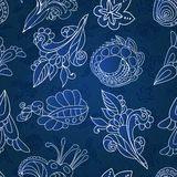 Vintage white and blue floral seamless pattern Royalty Free Stock Photos