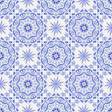 Vintage white-and-blue seamless pattern Stock Photography