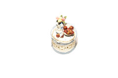 Vintage white box with red apples on a white background Royalty Free Stock Photography