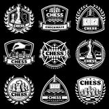 Vintage White Chess Logos Set. For tournament competition with figures chessboards clocks on black background isolated vector illustration Stock Image