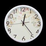 Vintage white clock isolate on black Stock Image