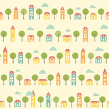 Vintage white colorful pretty town pattern Royalty Free Stock Images