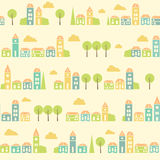 Vintage white colorful town pattern Royalty Free Stock Photo