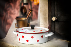 Vintage white cooking pot Stock Images