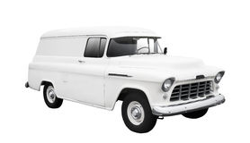 Vintage White Delivery Van on White Royalty Free Stock Photos