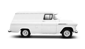 Vintage White Delivery Van on White Stock Photos