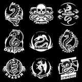 Vintage White Dragon Tattoo Labels Set. With letterings fantasy reptiles skull flowers on black background  vector illustration Stock Photos