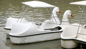 Vintage white duck recreation boat in Thailand park Stock Photography