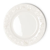 Vintage white empty plate. On white background stock photos