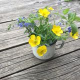 Vintage white enamel mug with small bouquet of buttercups flowers Stock Photos