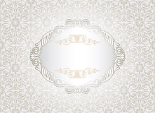 Vintage white frame. On damask background, vector illustration Stock Photo