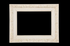 Vintage white frame on black background. Antique white frame, isolated on black background Stock Images