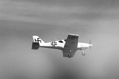 Vintage white German airplane in the sky Royalty Free Stock Photography