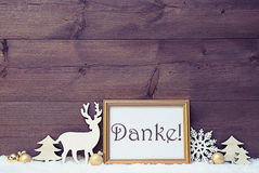 Vintage White And Golden Christmas Card, Snow, Danke Mean Thanks. Vintage Christmas Card With Picture Frame On White Snow. German Text Danke Means Thank You royalty free stock images
