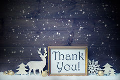 Vintage White And Golden Christmas Card, Snowflakes, Thank You Stock Photos