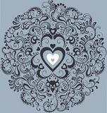 Vintage white heart in ornamental flourish circle. Decorative Mandala Stock Photo