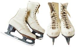 Vintage white ice skates Royalty Free Stock Images