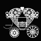 Vintage white lace carriage on black background Stock Photos