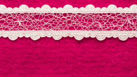Vintage white lace over pink background Royalty Free Stock Photos