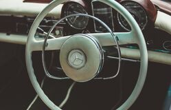 Vintage White Mercedes Steering Wheel Royalty Free Stock Photo
