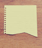 Vintage, white note paper on wooden table Stock Image