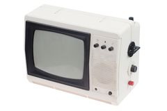 Vintage white portable TV set isolated Royalty Free Stock Images