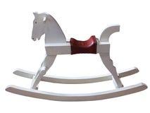 Vintage white rocking horse isolated on white Stock Photography