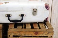 Vintage white suitcase Royalty Free Stock Photo