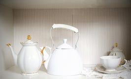 Vintage white tea pot Stock Image