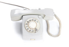 Vintage white telephone isolated over white background Stock Photography
