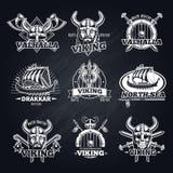 Vintage White Viking Emblems Set Stock Images