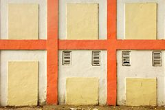 Vintage White Wall With Checkered Painted Pattern Detail Royalty Free Stock Image