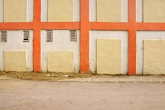 Vintage White Wall With Checkered Painted Pattern Detail Stock Image