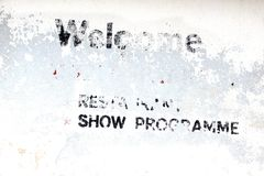 Vintage White Wall with Old  Restaurant and Live Show Advertisin Royalty Free Stock Photo