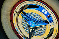 vintage white wall tire and chrome hubcap royalty free stock images